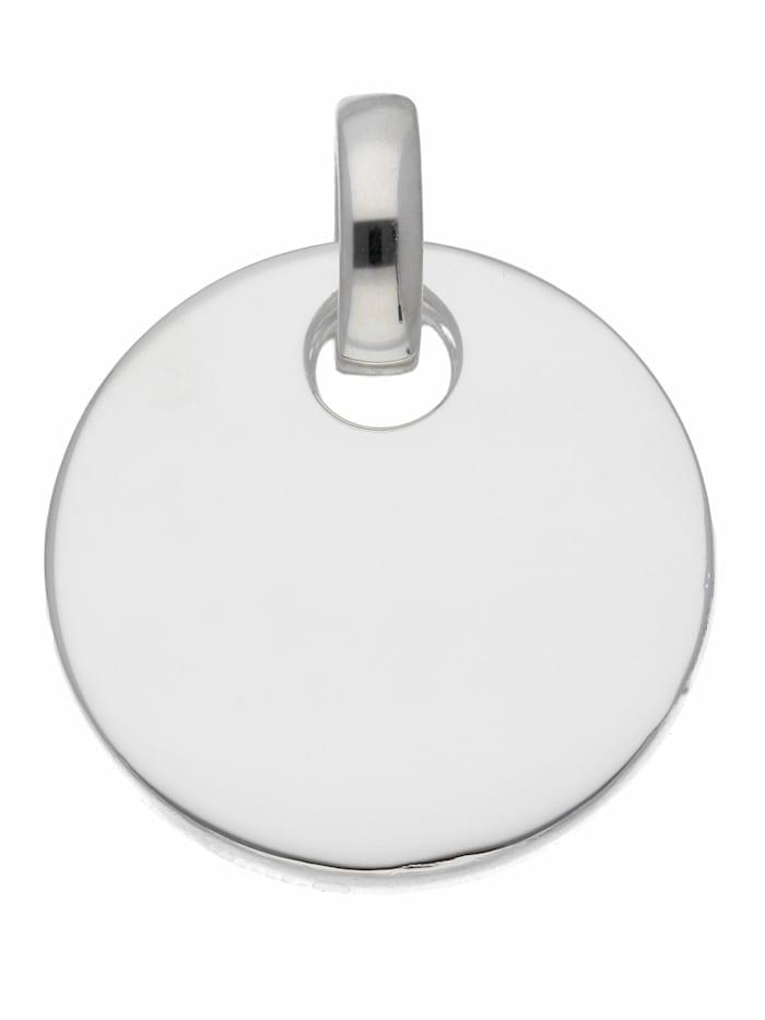 1001 Diamonds Damen Silberschmuck 925 Silber Gravurplatte Anhänger Ø 19,8 mm, silber