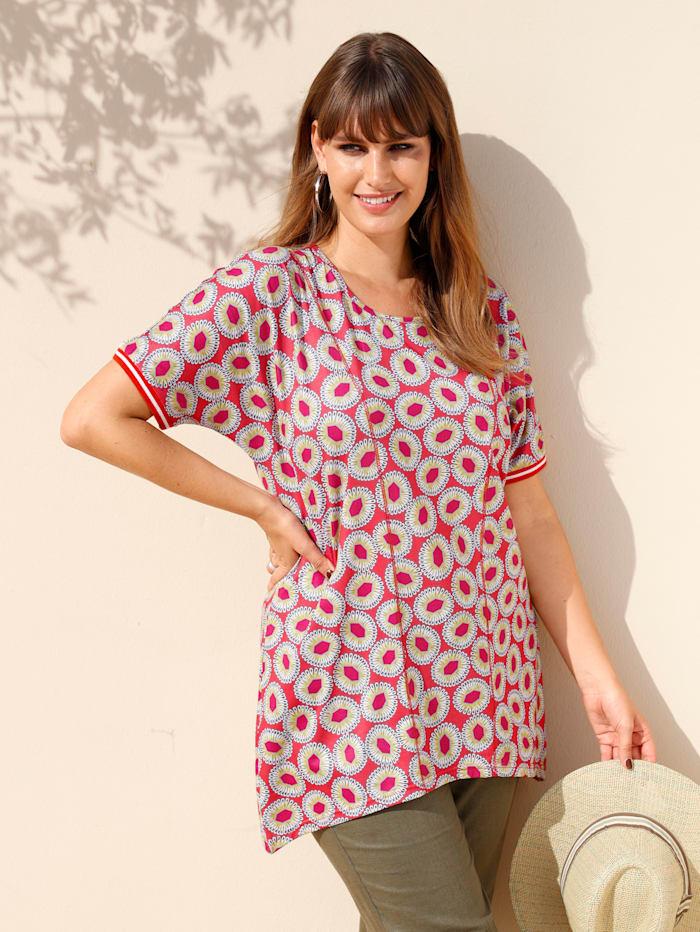 MIAMODA Shirt mit grafischem Druckdesign, Grün/Koralle