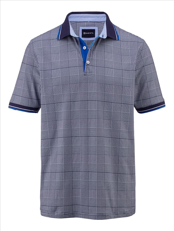 BABISTA Poloshirt met pied-de-poule-dessin, Marine/Wit
