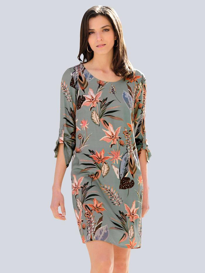 Alba Moda Kleid mit floralem Dessin, Salbeigrün/Rosé