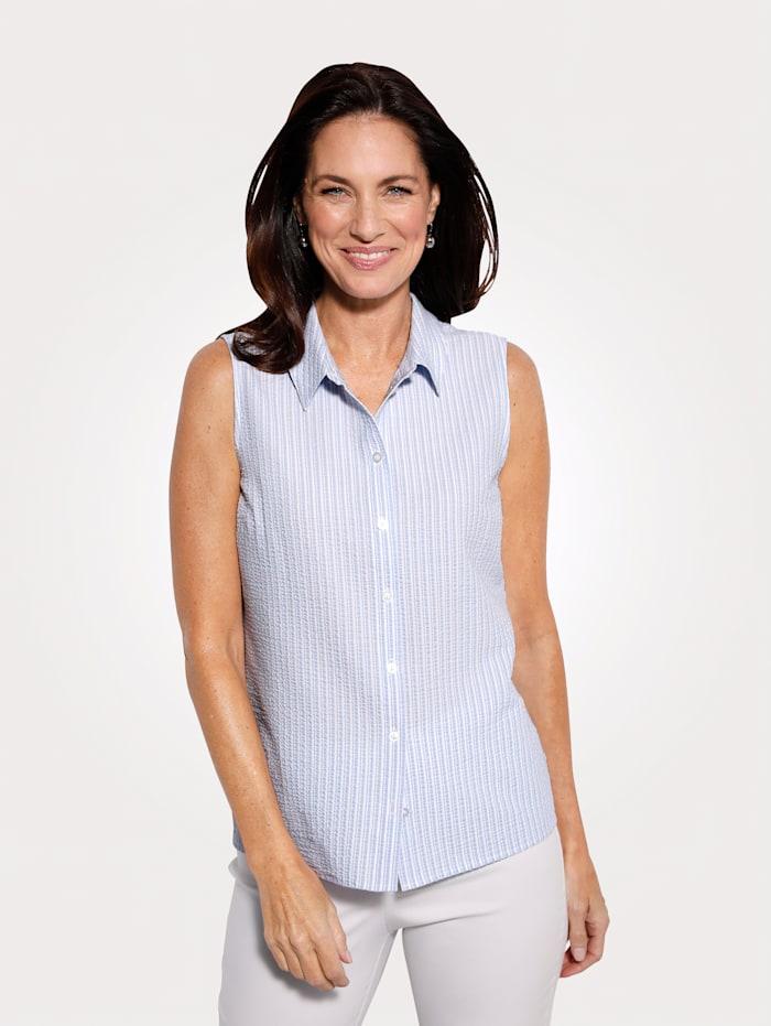 MONA Bluse in Seersucker-Qualität, Hellblau/Weiß