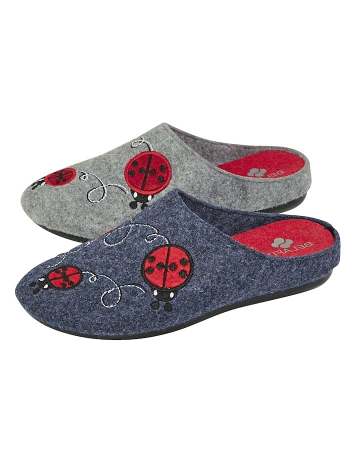 Belafit Pantoffeln im 2-er Pack, Grau/Blau