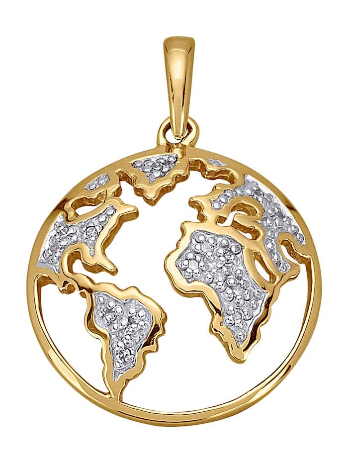 AMY VERMONT Hanger Wereldbol met diamanten, Geelgoudkleur