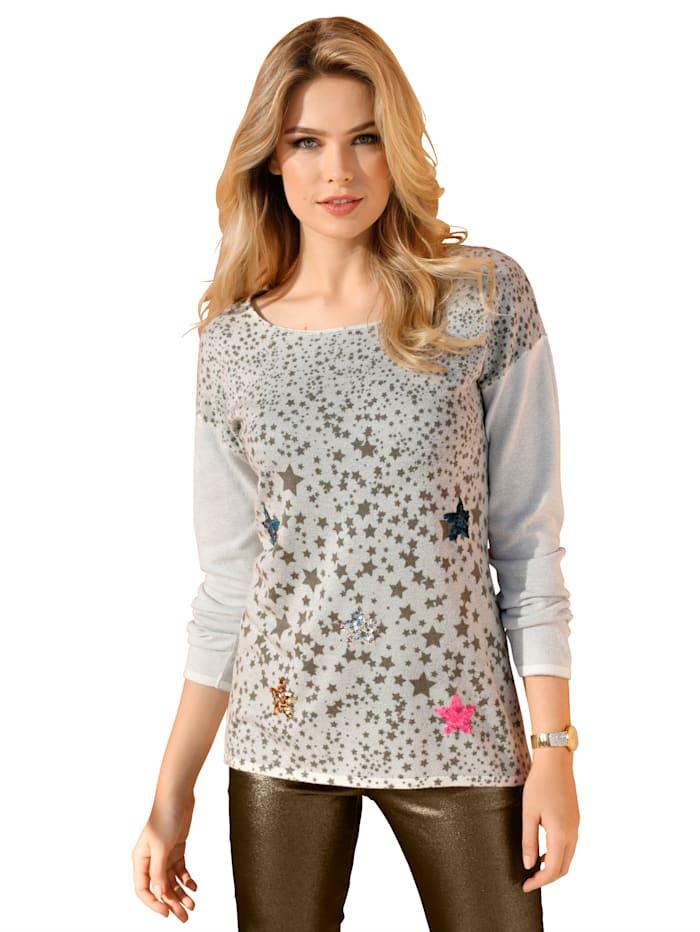 Pullover mit Pailletten und Sternendruck im Vorderteil