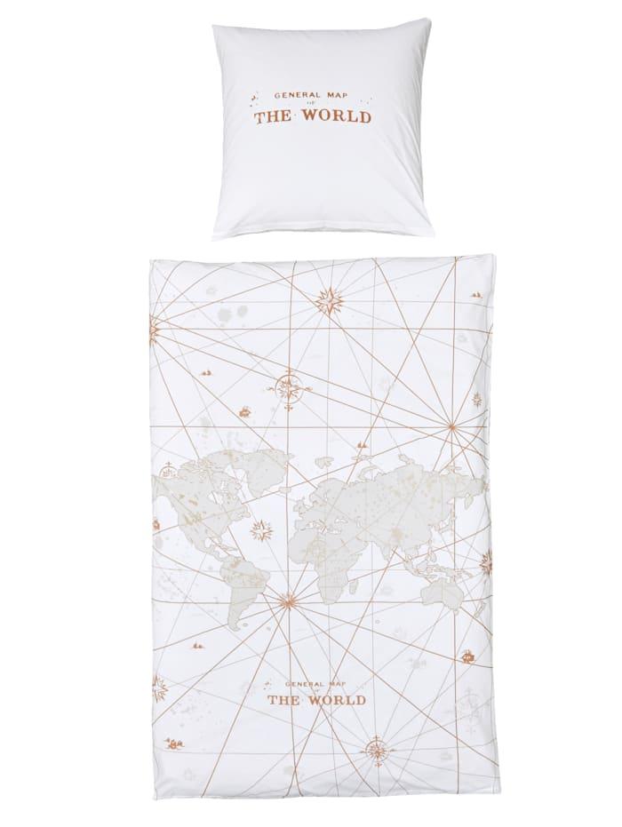 Bettwäsche Weltkarte, multicolor