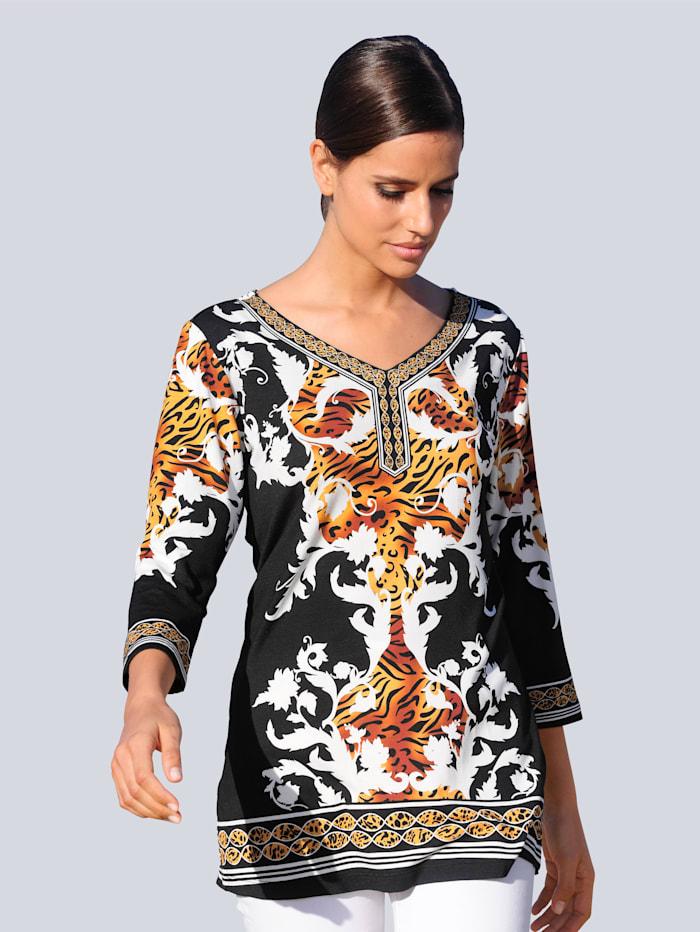 Alba Moda Strandshirt mit Spiegeldruck, Schwarz