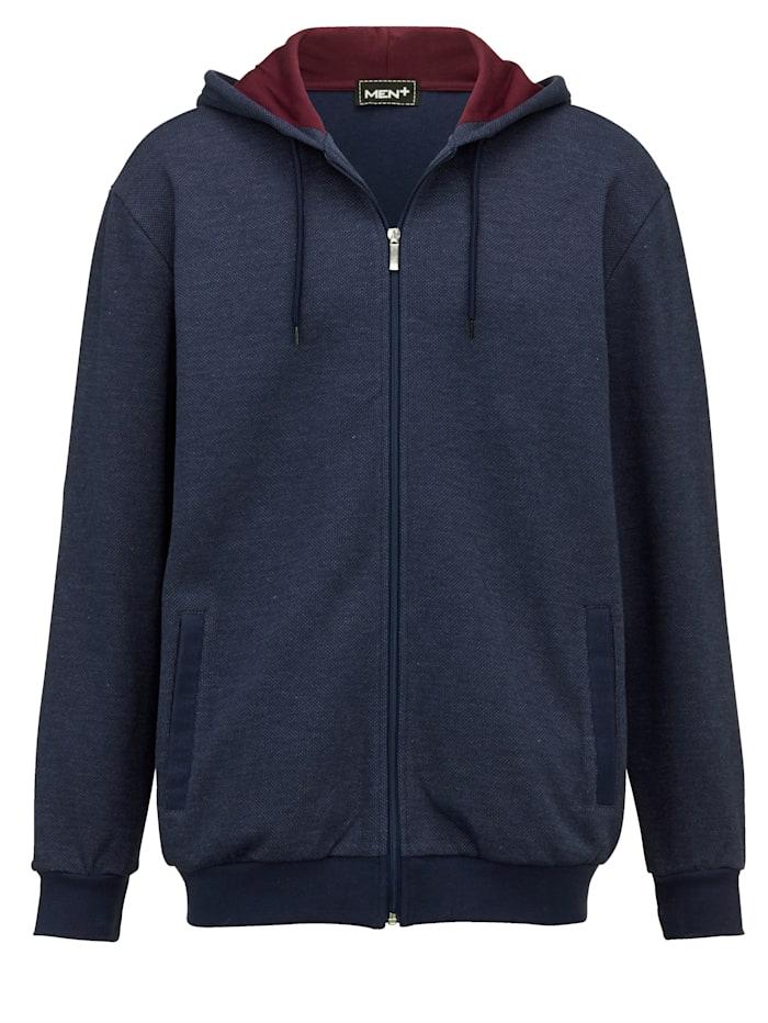 Men Plus Sweatshirtjacka med extra plats för magen, Marinblå/Lila