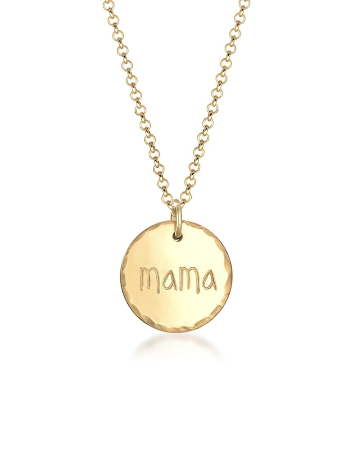 Elli Halskette Mama Schriftzug Muttertag Gehämmert 925Er Silber, Gold