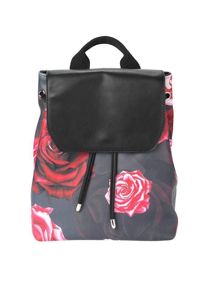 Collezione Alessandro Sac à dos à ravissant imprimé de roses, Noir/rouge