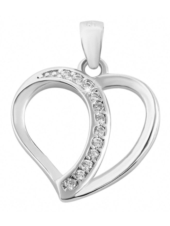 1001 Diamonds Damen Anhänger Herz aus 925 Silber mit Zirkonia, silber