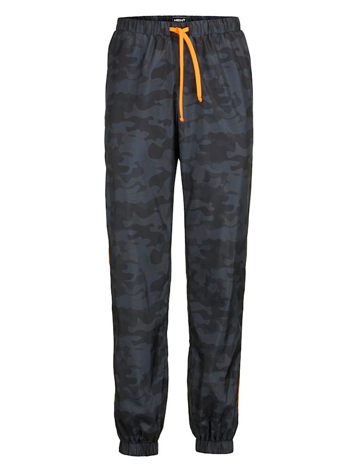 Men Plus Trainingshose mit Kontrastfarbenem Besatz, Grau/Schwarz/Neonorange