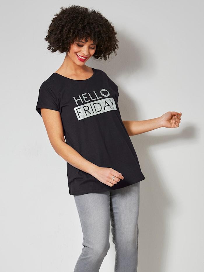 Janet & Joyce Shirt met trendy statementprint, Zwart