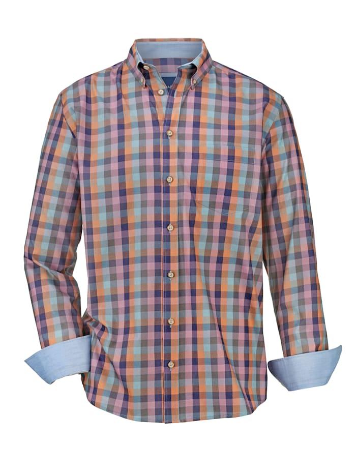 BABISTA Overhemd met ruitdessin, Blauw/Roze/Oranje