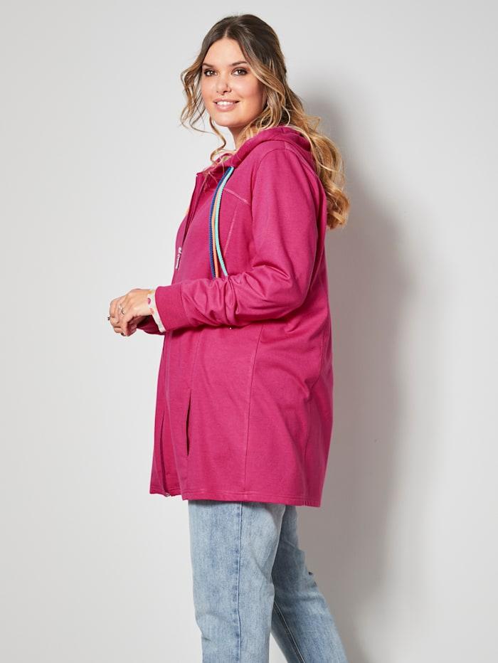 Sweat bunda s pestrými šnúrkami na kapucni