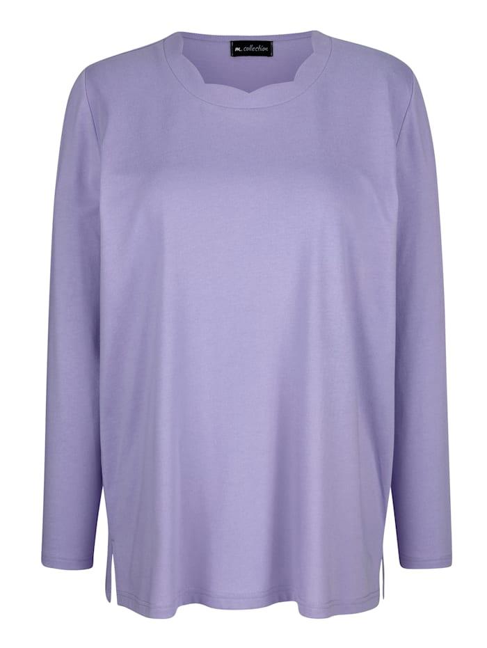 Shirt met sierlijk golvende ronde hals