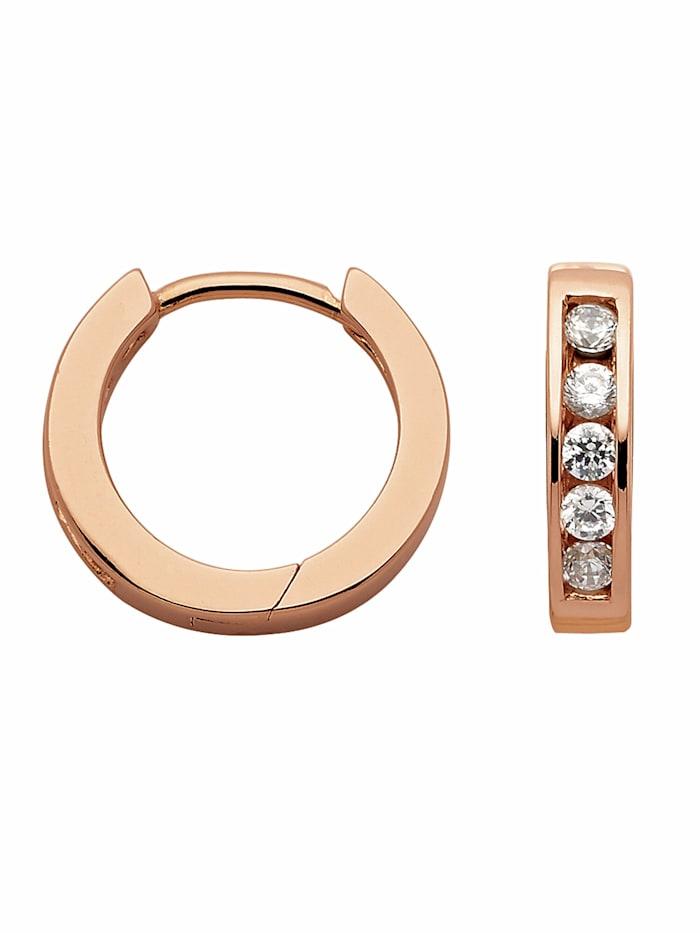 1001 Diamonds Damen Silberschmuck 925 Silber Ohrringe / Creolen mit Zirkonia Ø 14,5 mm, rose
