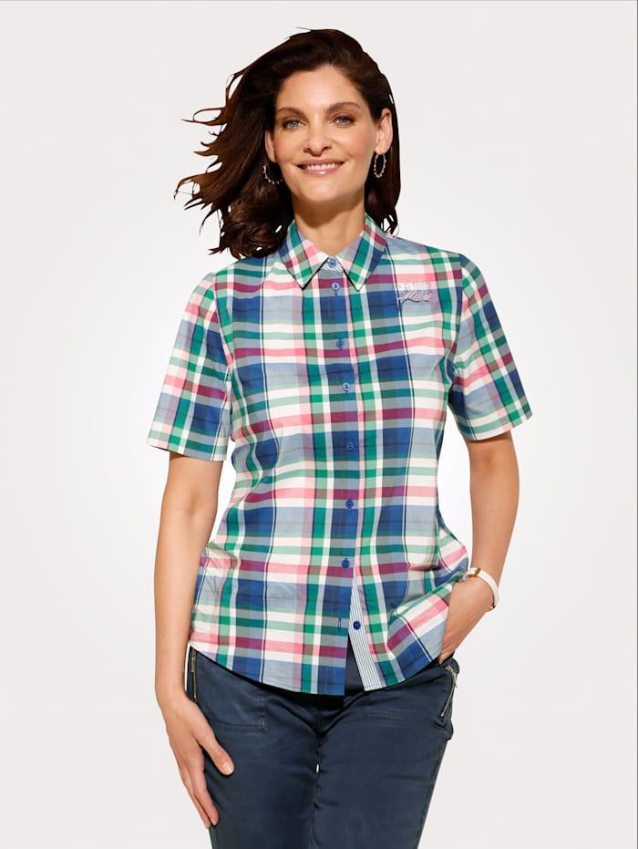 MONA Bluse aus Webkaro, Weiß/Blau/Pink
