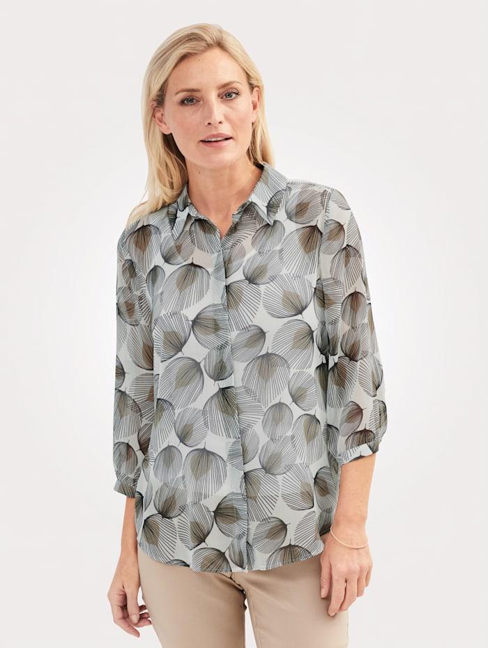 MONA Bluse mit floralem Druck, Ecru/Beige/Schwarz