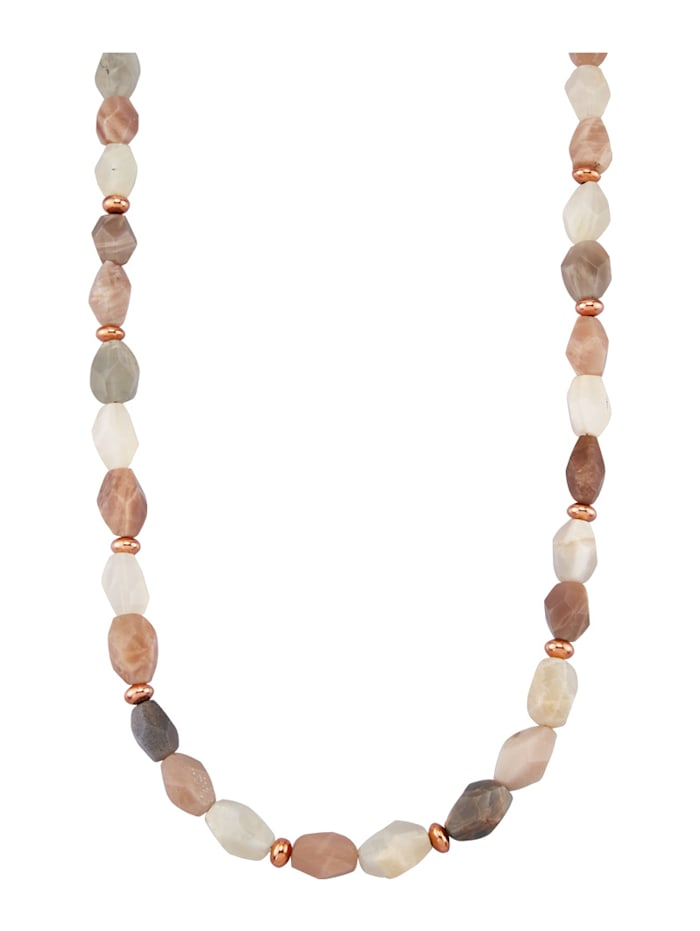 Diemer Farbstein Mondstein-Kette mit glänzende Zwischenteilen, Multicolor