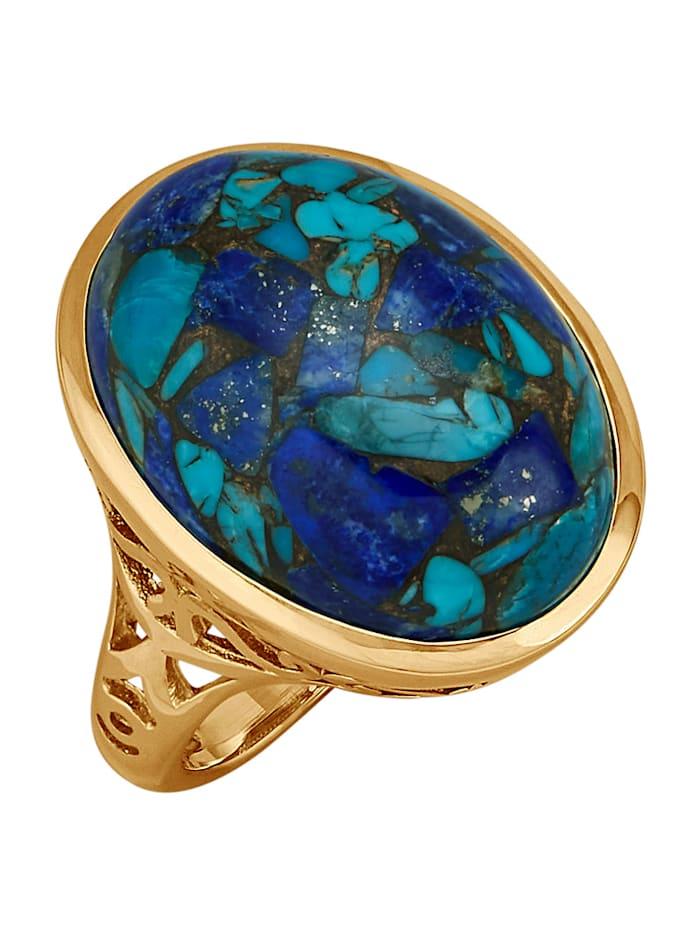 Amara Pierres colorées Bague avec turquoise, lapis-lazuli et cuivre (stab.), Multicolore