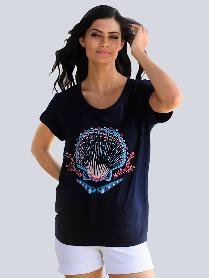 Alba Moda Strandshirt mit Muschelmotiv, Marineblau