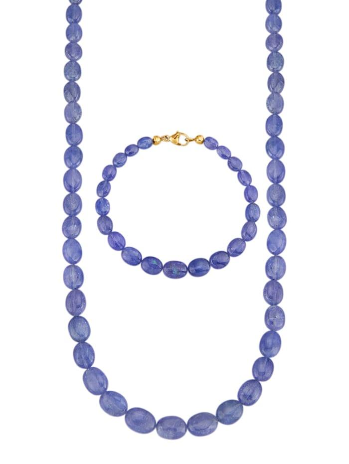 2-delige sieradenset met tanzanieten, Blauw