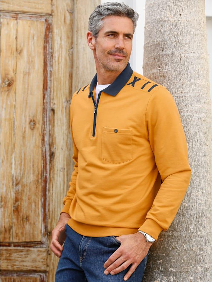 Roger Kent Sweatshirt mit Kontrastdetails, Ockergelb