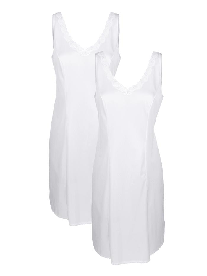 Südtrikot Slip dress in an antistatic fabric, White