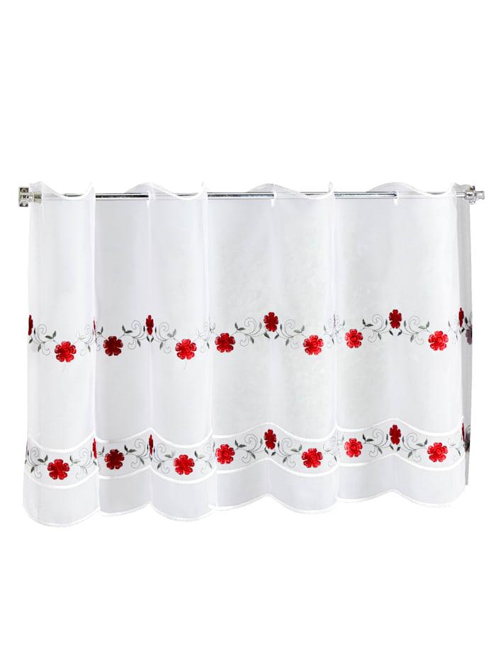 Gardinserie -Emilia-, hvit/rød