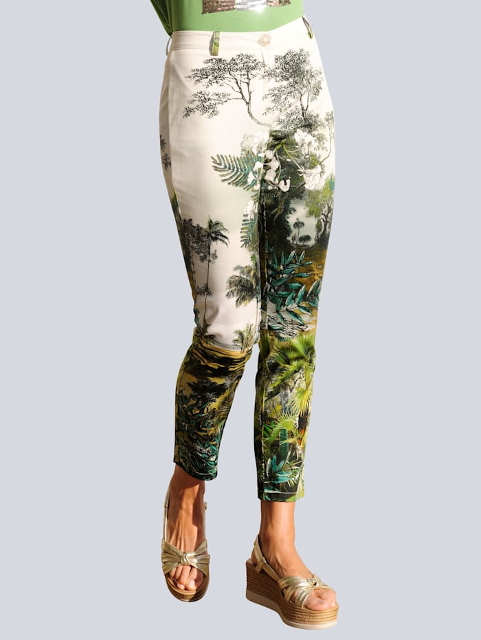 Alba Moda Strandhose mit dekorativem Druck, Grün