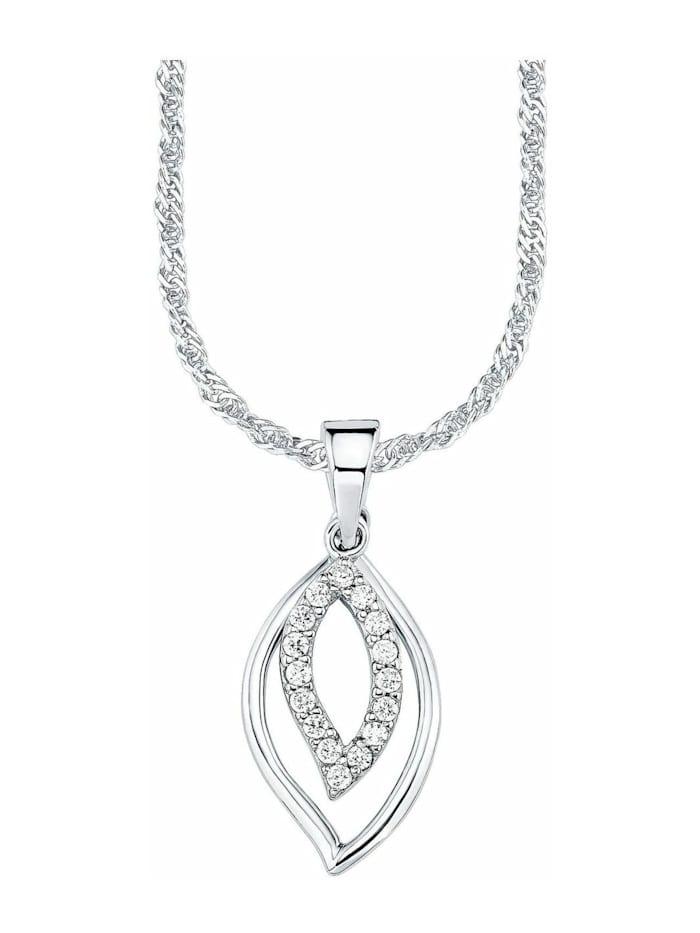 amor Kette mit Anhänger für Damen, Sterling Silber 925, Zirkonia Fantasie, Silber