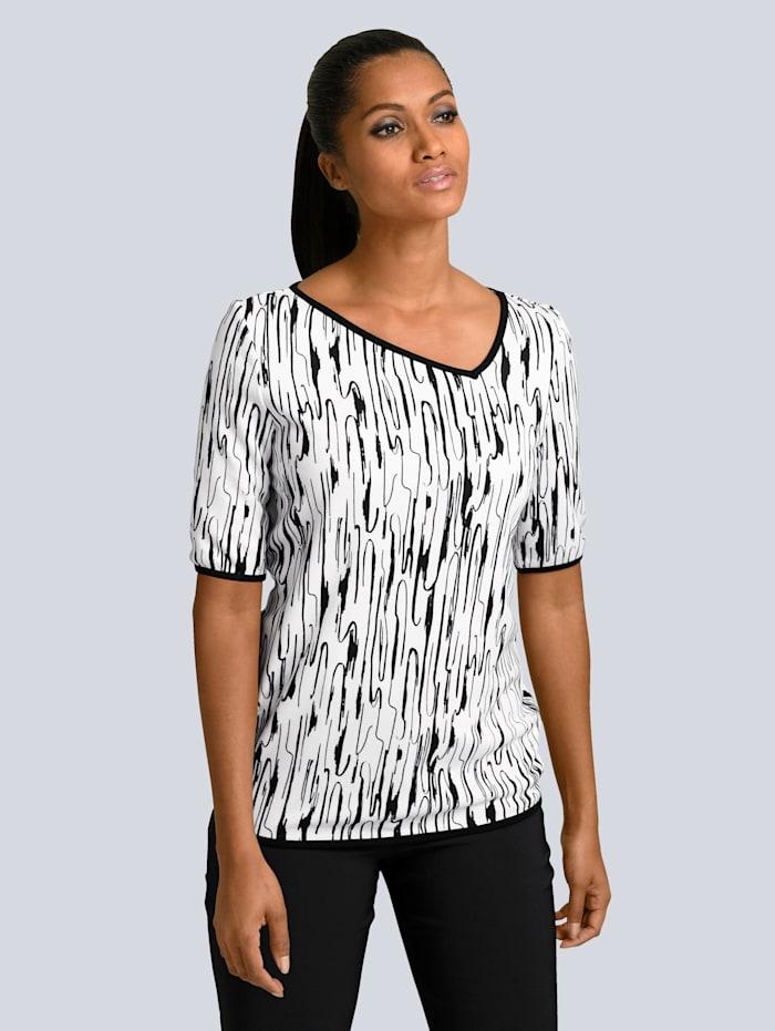 Alba Moda Druckshirt mit grafischem Print allover, Weiß/Schwarz