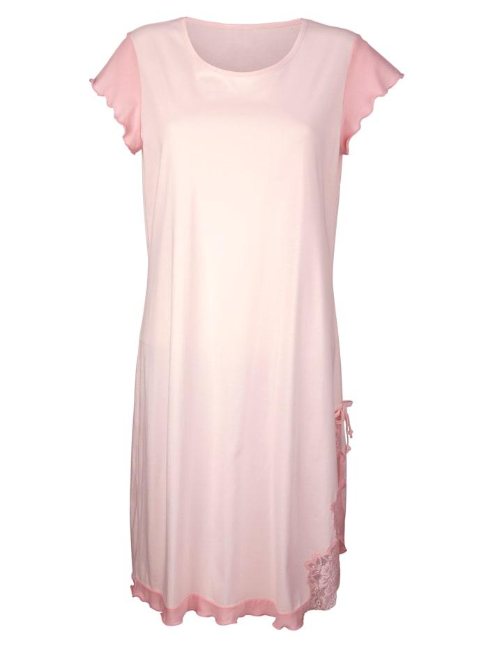 Simone Nachthemd met elegant kanten motief, Roze/Lichtroze