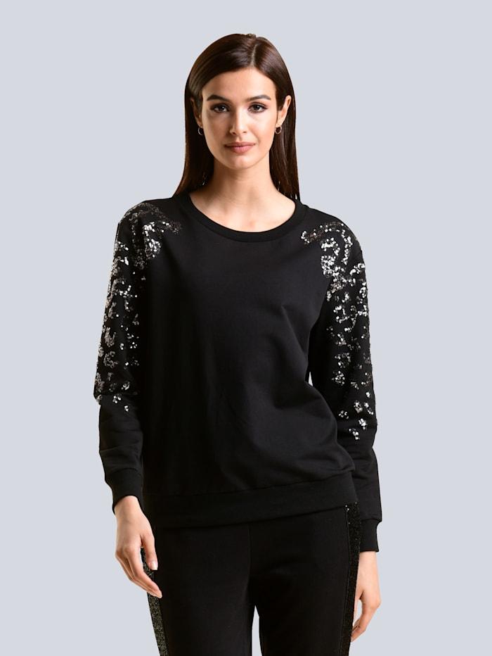 Alba Moda Sweatshirt mit Paillettenbestickung, Schwarz