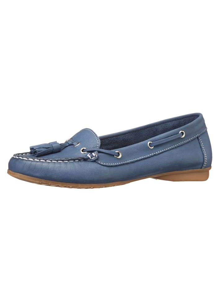 Liva Loop Moccasins made from leather, Blue