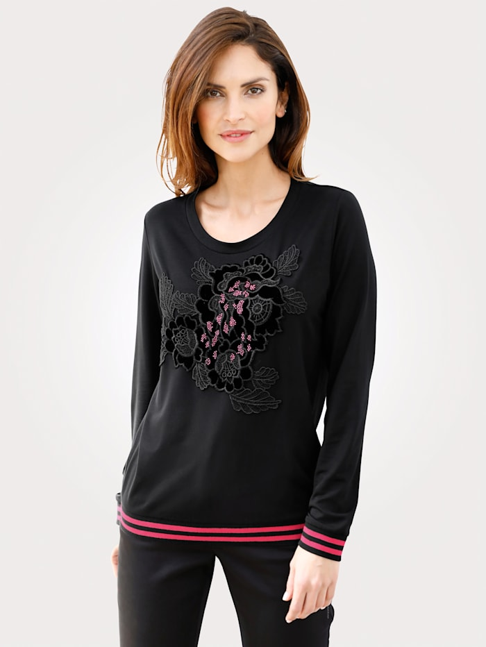 MONA Shirt mit Blüten-Applikation, Schwarz/Pink
