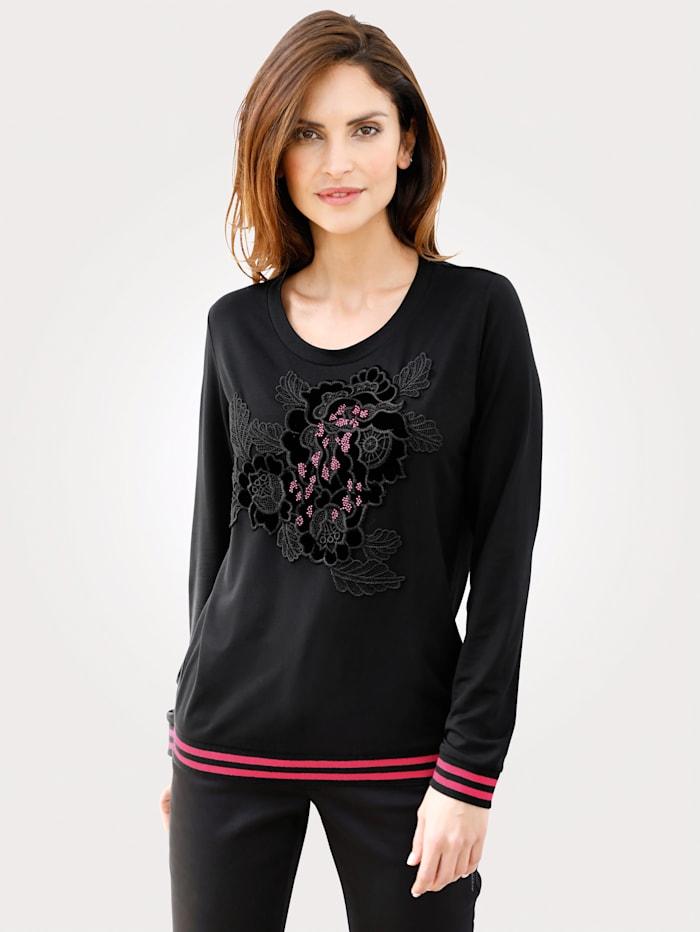 MONA Top with appliqué flowers, Black/Pink