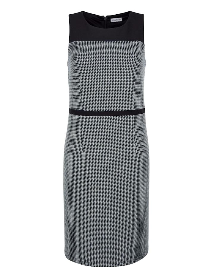 Alba Moda Kleid mit uni abgesetztem Schulterbereich, Marineblau/Off-white
