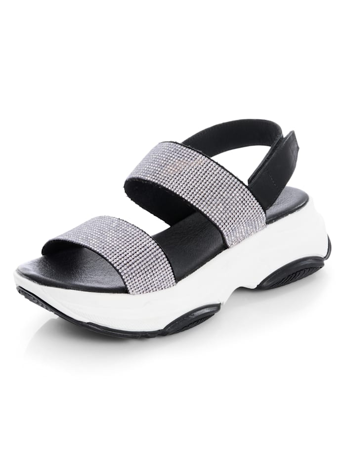 Alba Moda Sandalette mit Strasssteinchen, Schwarz