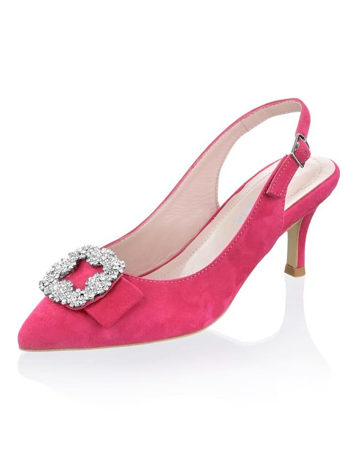 Alba Moda Slingpumps mit Strassschnalle, Pink