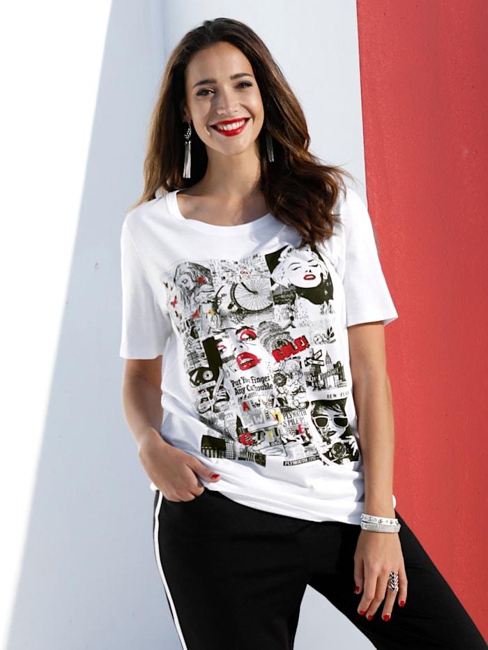 MIAMODA T-shirt à imprimé bande dessinée, Blanc