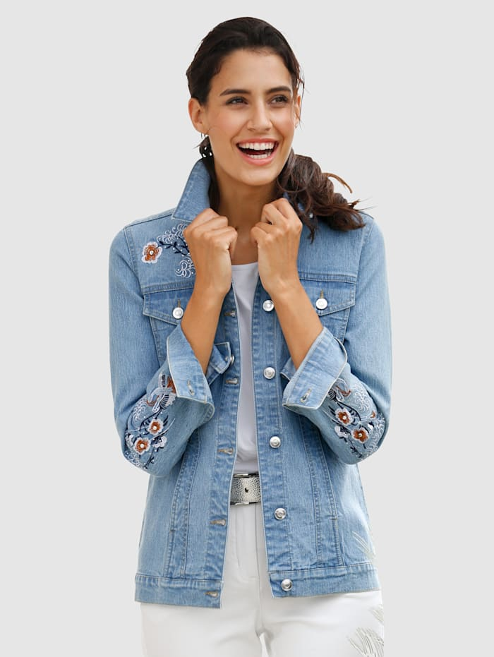 Dress In Jeansjacke mit dekorativer Stickerei, Blau