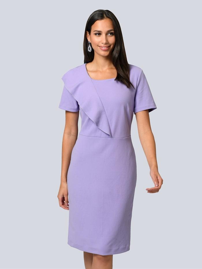 Alba Moda Kleid mit modischem Volant vorne, Lavendel