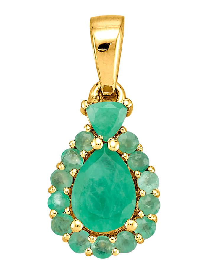 Amara Pierres colorées Pendentif avec émeraudes, Vert
