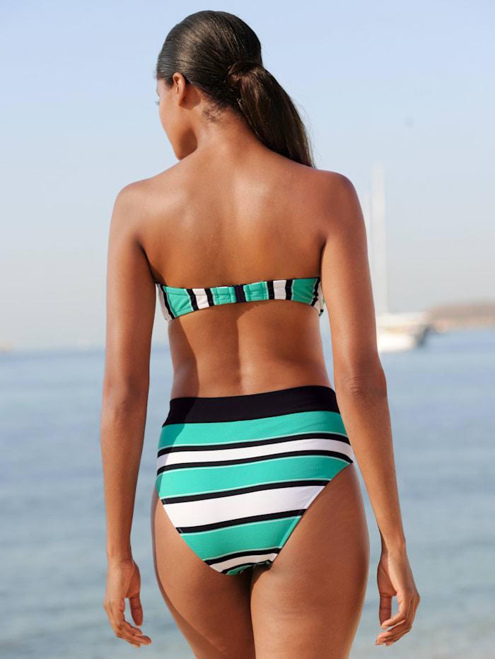 Bandeau-Bikini mit schwarzen Blenden
