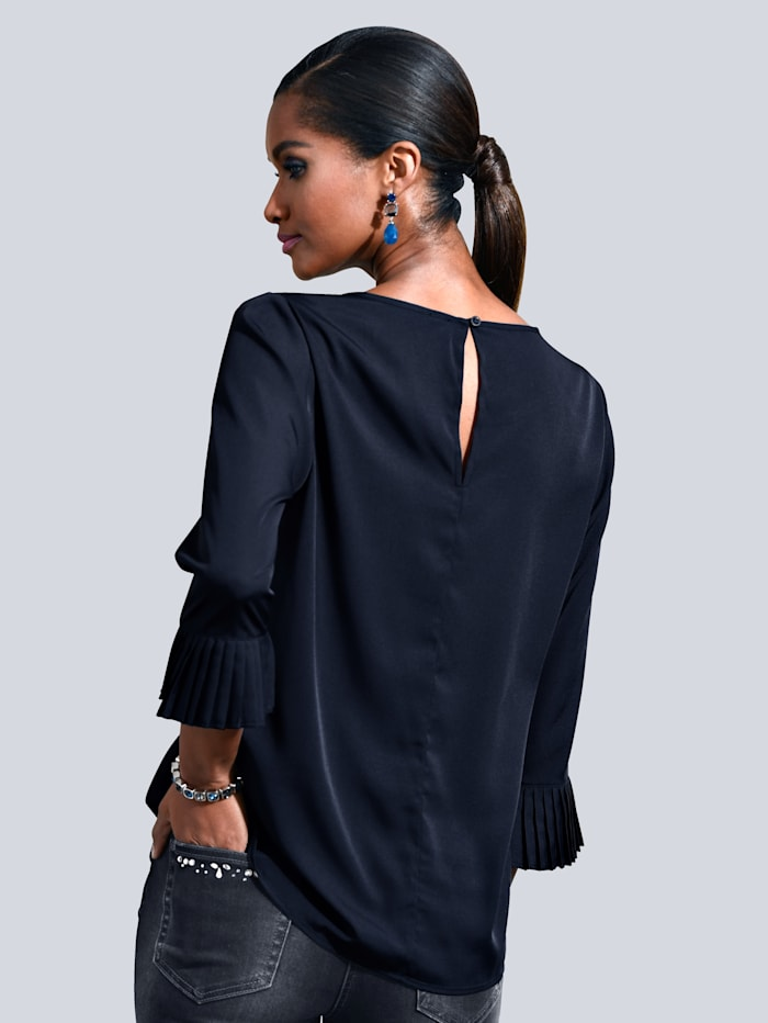 Bluse mit plissierten Armabschlüssen