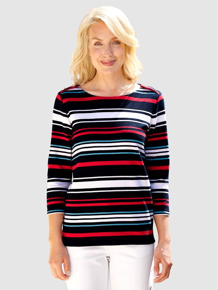 Paola Shirt met vlotte strepen, Marine/Wit/Rood