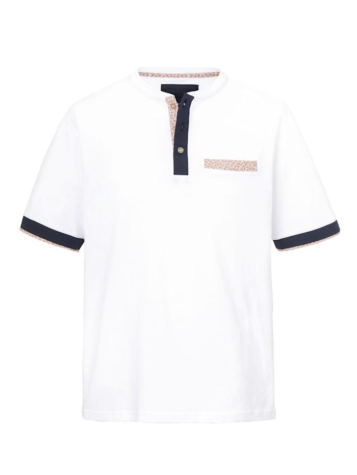 BABISTA T-shirt col tunisien à détail fleuri, Blanc