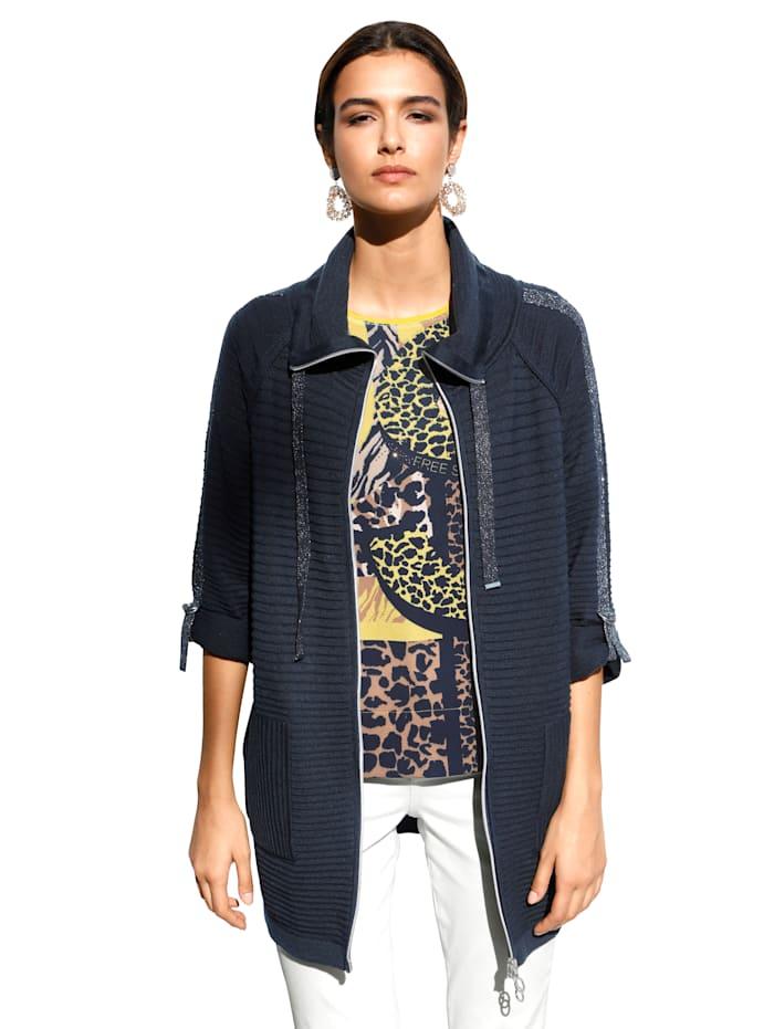 Betty Barclay Vest met sierstrepen van metallic garen, Donkerblauw