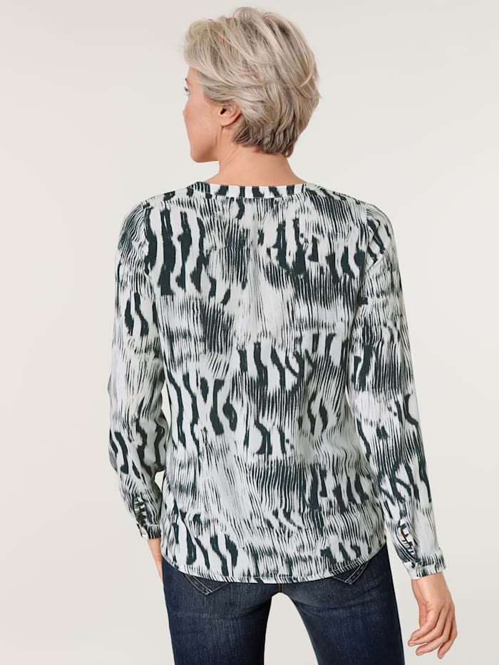 Blouse met abstract zebradessin
